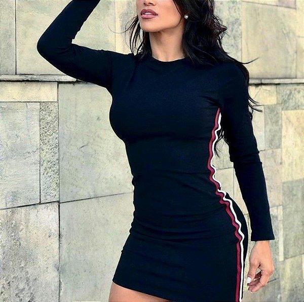 Vestido manga longa com faixa lateral - Preto