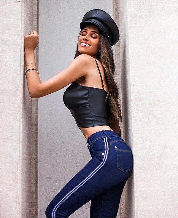 Calça jeans tradicional skinny com faixa lateral