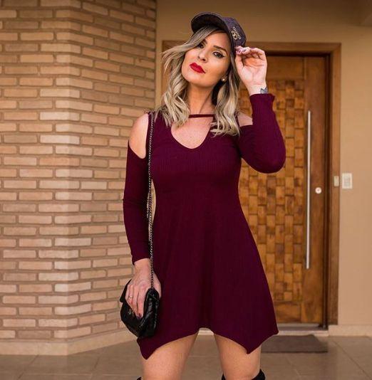 Mini vestido barra assimétrica - Marsala