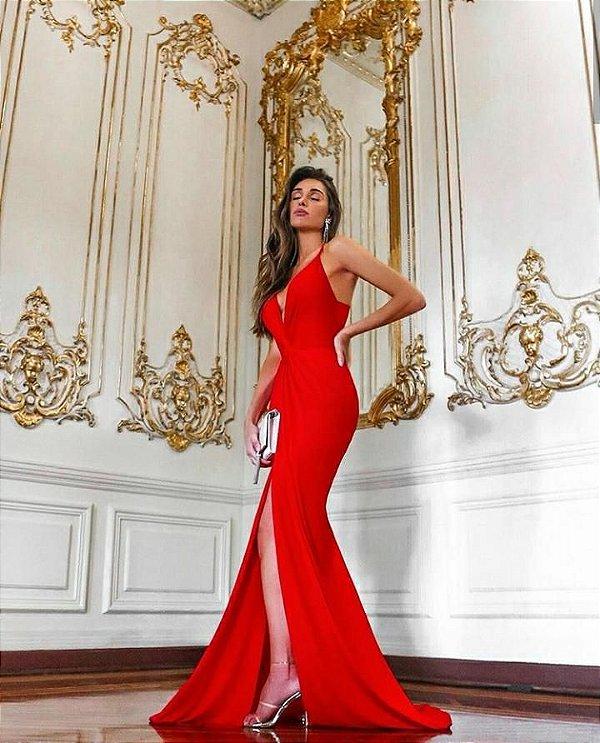 Vestido Penélope longo em jérsey acetinado - Vermelho