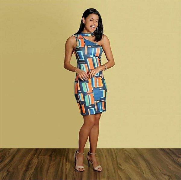 Vestido um ombro só em neoprene estampado colorido
