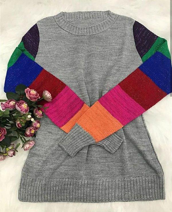 Suéter de tricot manga colors - com lurex