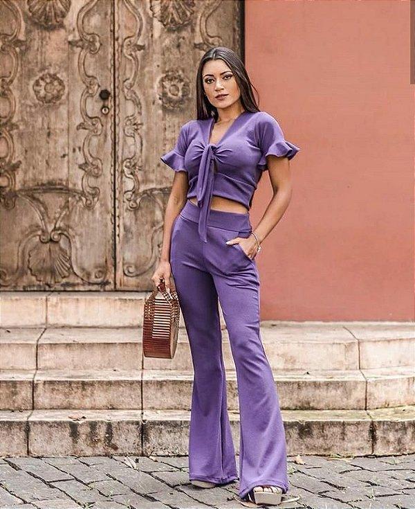 Conjunto calça flare + cropped nózinho - Roxo