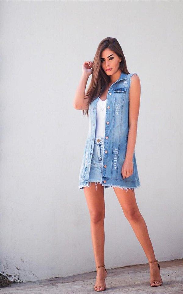 Maxi Colete Jeans Fashion