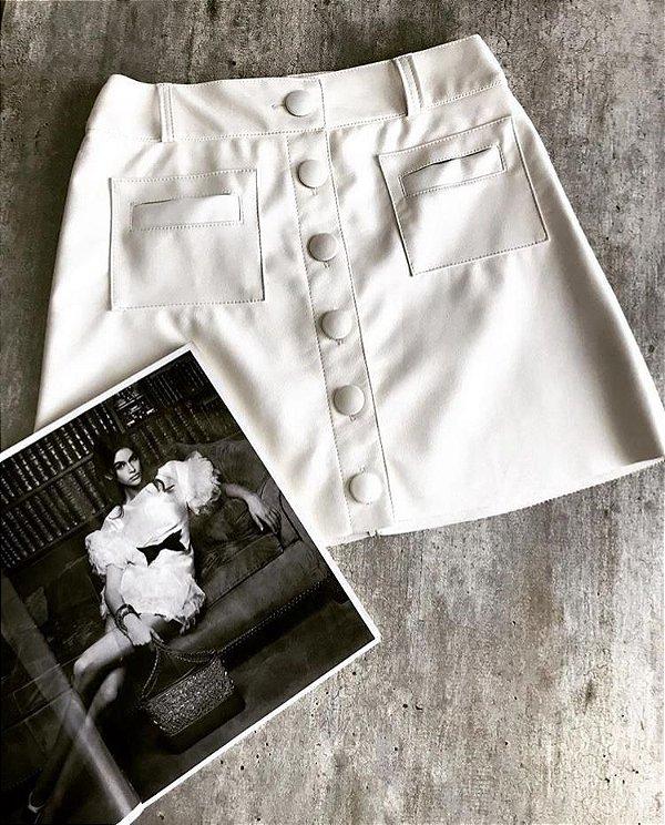 Saia botões couro eco - off white