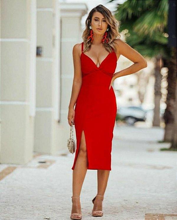 Vestido alcinha com fenda - Vermelho