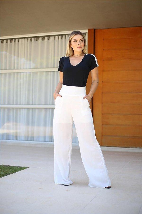 Calça pantalona em crepe - branca