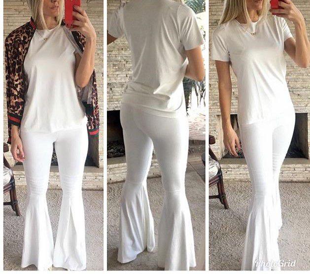 Conjunto em suede blusa e calça flare off white
