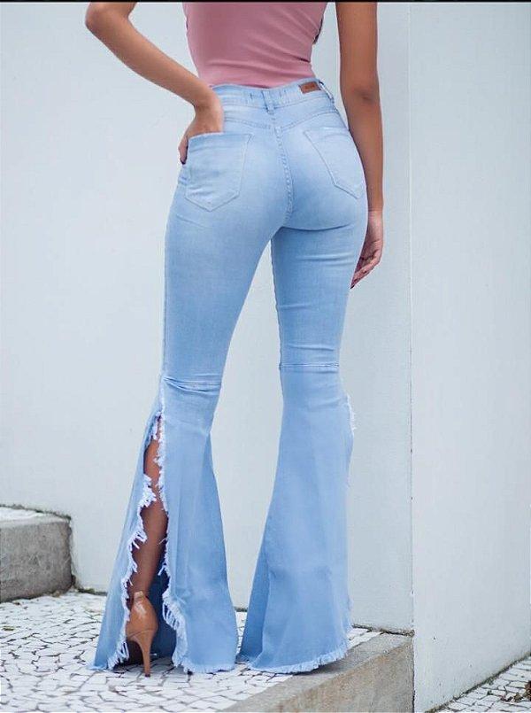 Calça jeans Jeri com fenda lateral destroyed