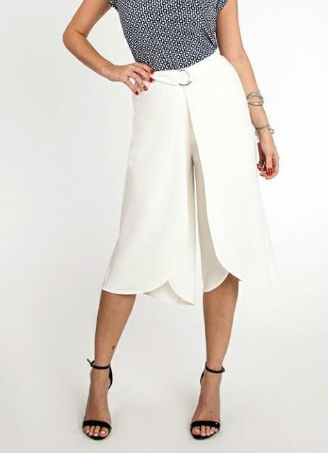 Calça pantacourt camadas - Off white