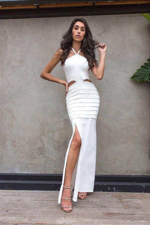 Vestido longo em bengaline - Off white