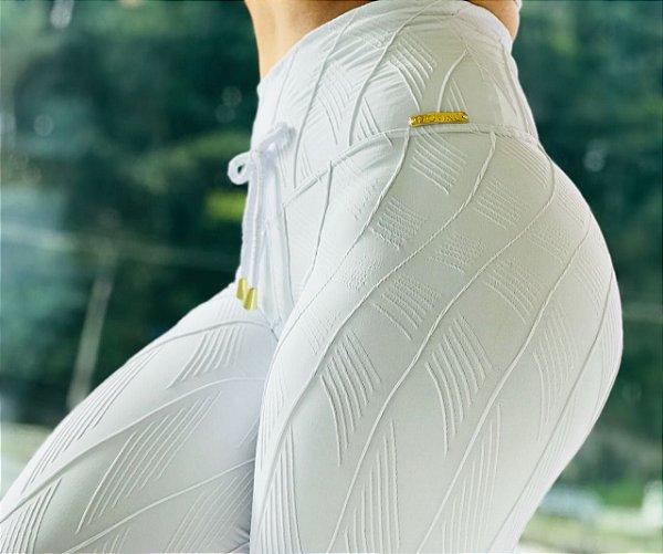 Calça legging fitness branca em jacquard - tamanho único