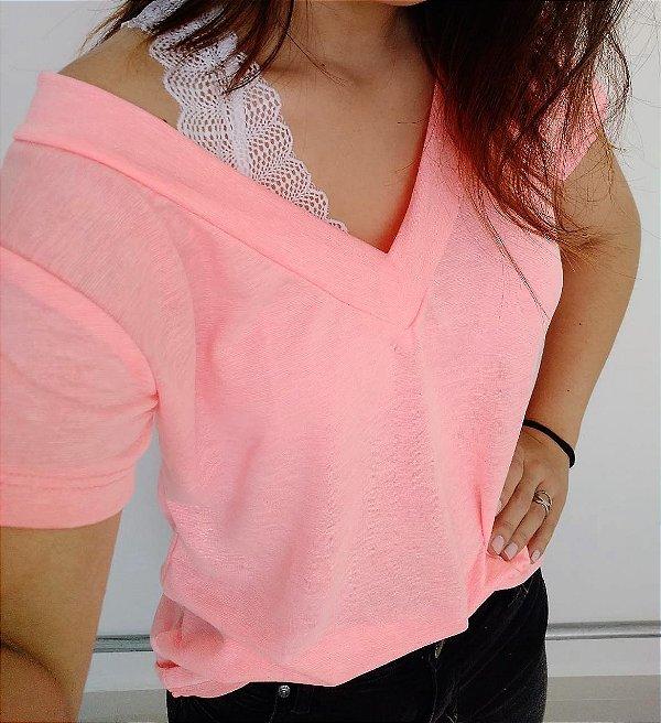 T-shirt podrinha - Rosa Neon