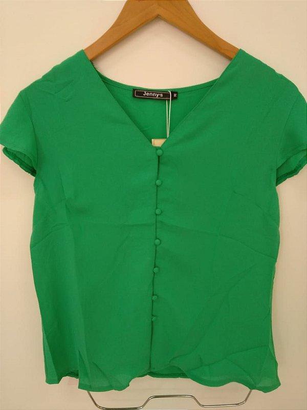 Blusa de manguinha com botões forrados - verde bandeira