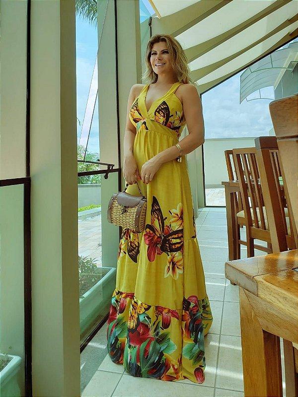 Vestido longo estampado em viscose - Amarelo