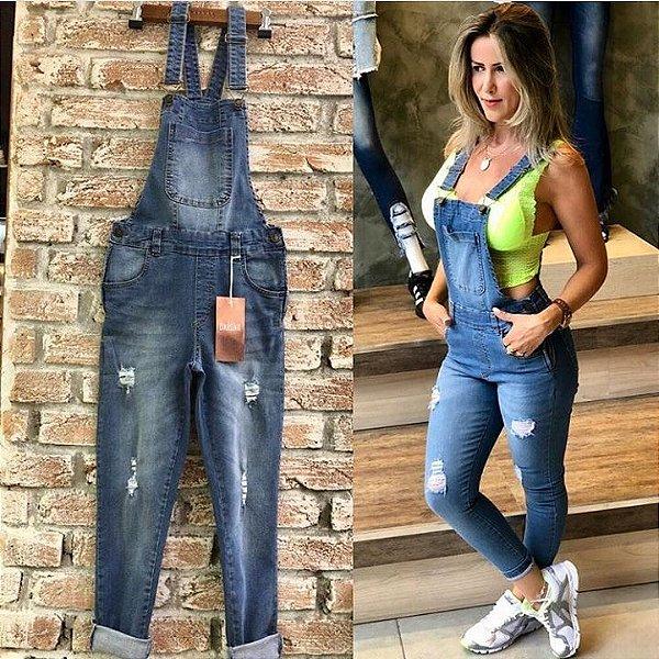 Jardineira jeans comprimento cropped - Lavagem clara
