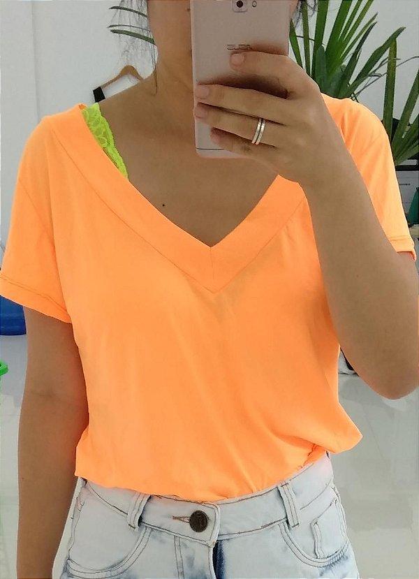 T-shirt podrinha em poliamida - Laranja forte Neon