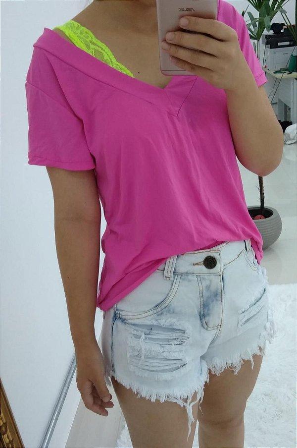 T-shirt podrinha em poliamida - Pink Neon