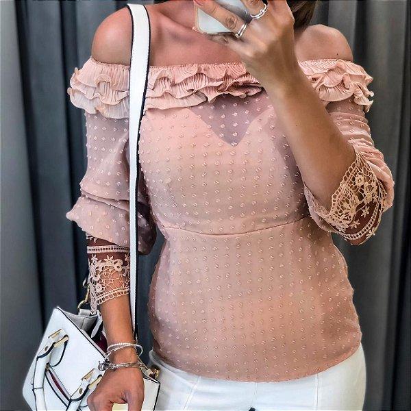 Blusa ombro a ombro Lovely - Rosê