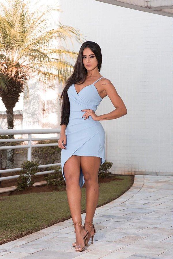 Vestido assimétrico Débora - Azul Serenity