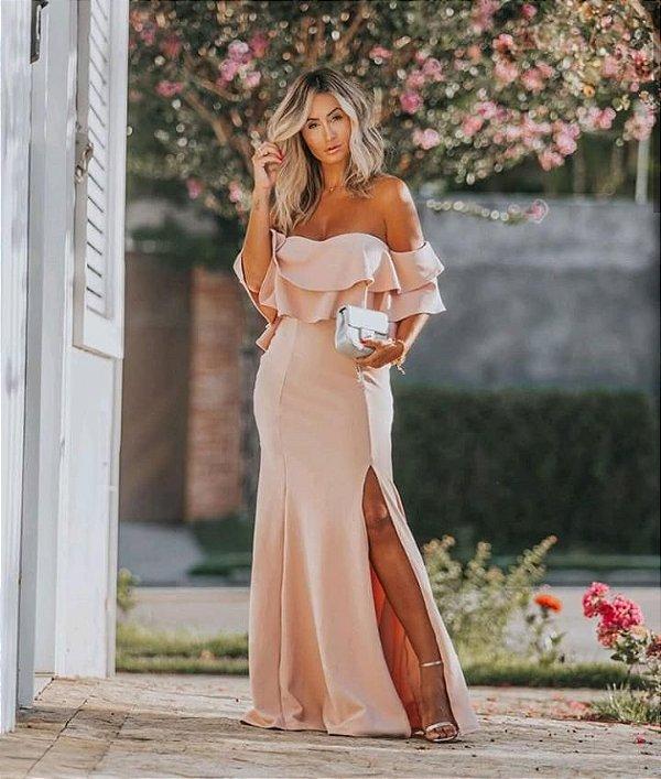 Vestido em malha crepe com babados e fenda - Rosê