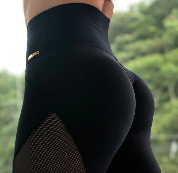 Calça legging fitness levanta bumbum recorte Authentic - tamanho único