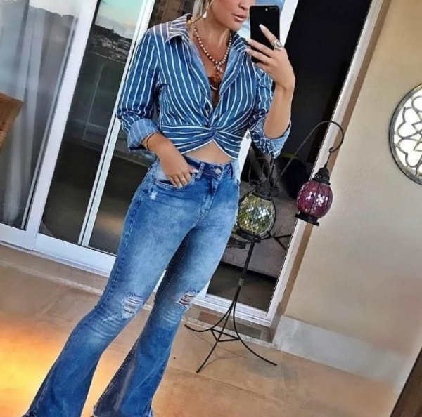 Camisa cropped com barra de nó - Jeans