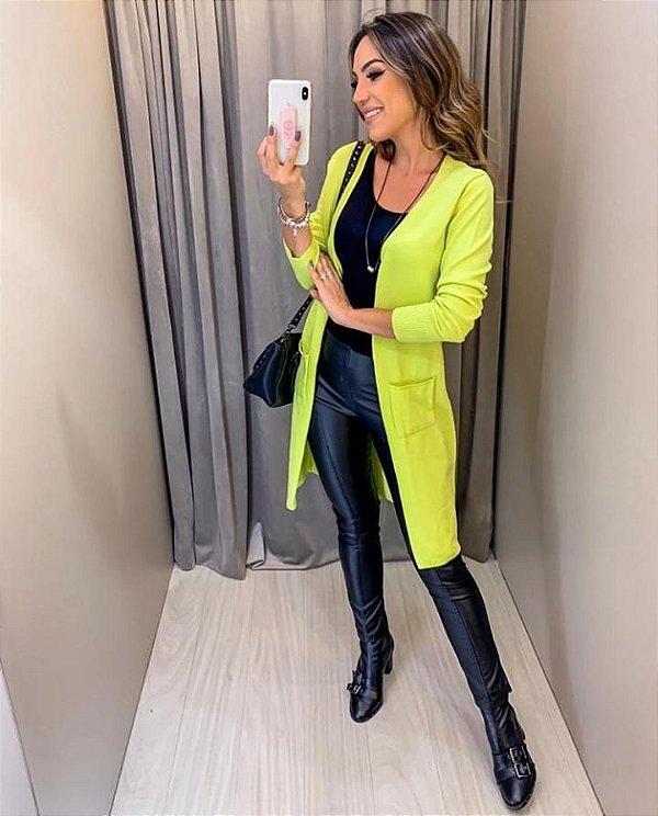 Maxi cardigan Verde limão neon