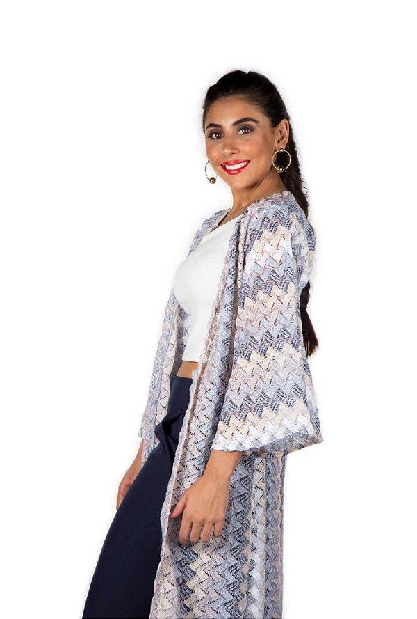Kimono de tricot blue tones