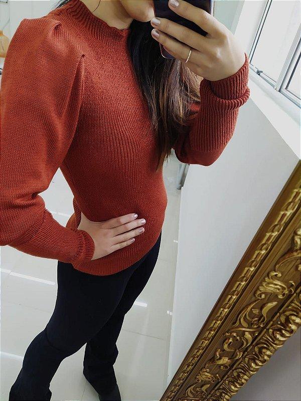 Blusa de tricot com manga longa princesa - Terracota