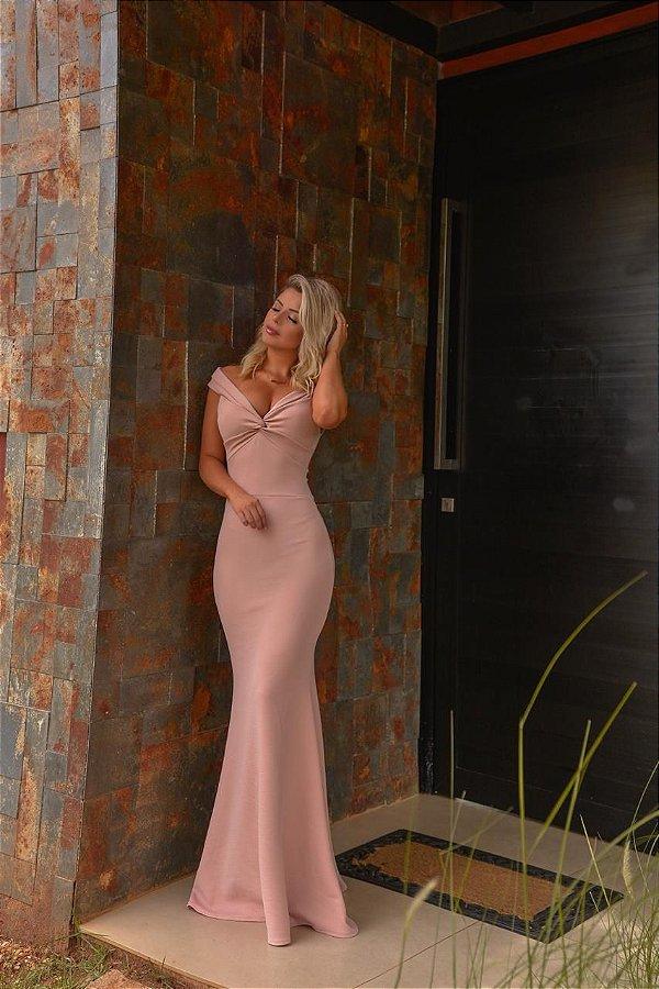 Vestido longo em malha crepe Lorena - Rosê