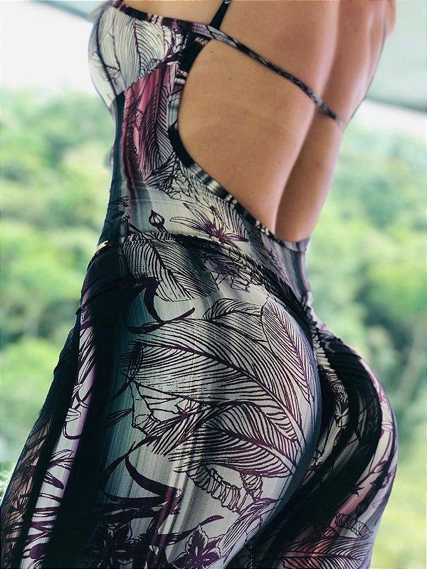 Macacão fitness levanta bumbum estampa floral roxa - Tamanho único