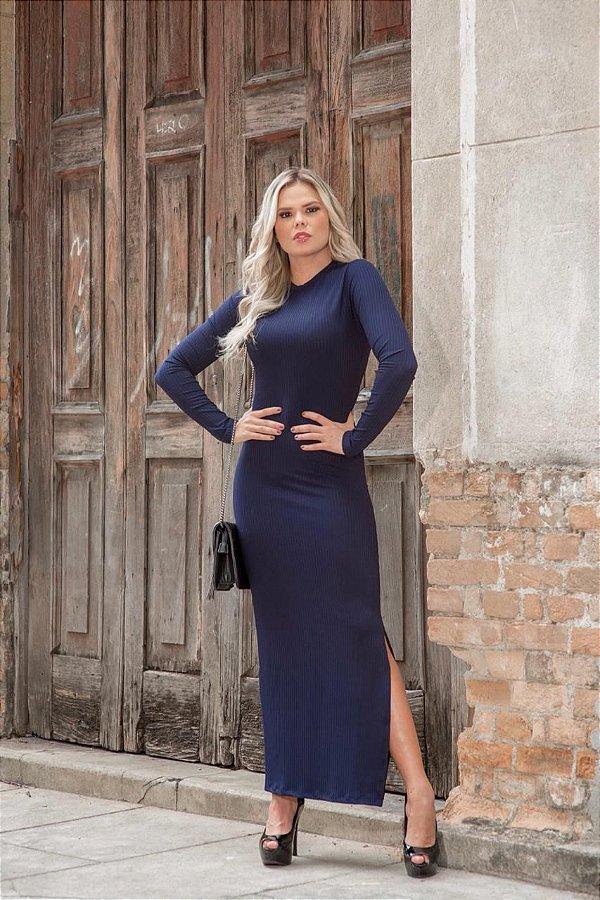 Vestido midi em malha canelada e mangas longas - azul marinho
