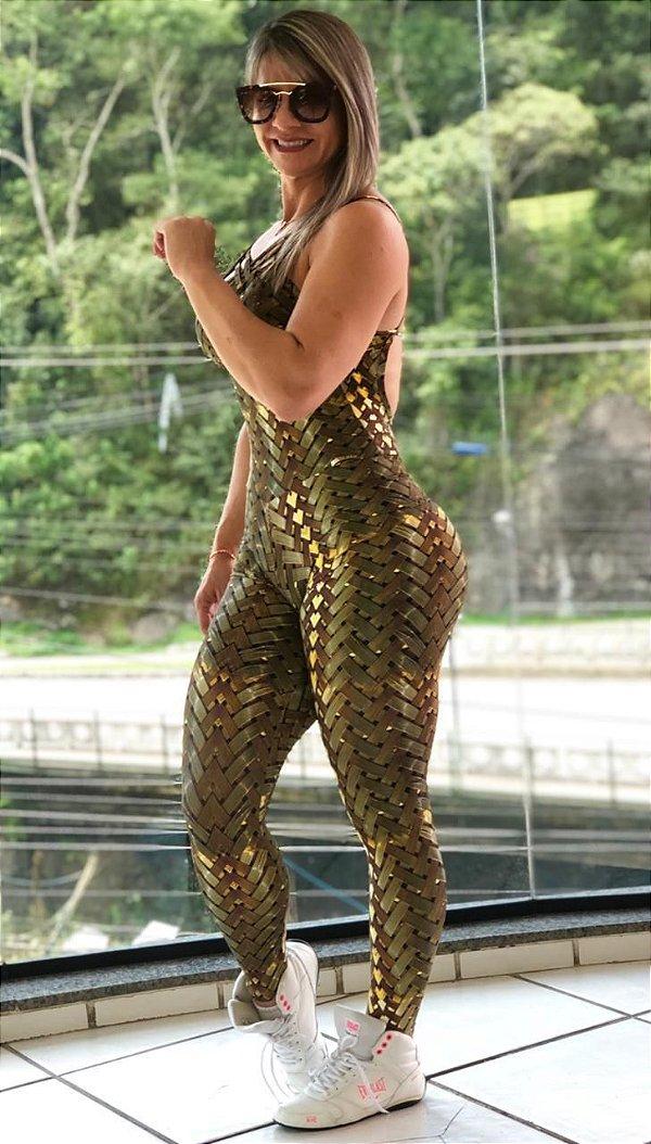 Macacão fitness empina bumbum com estampa 3D iron gold- Tamanho único