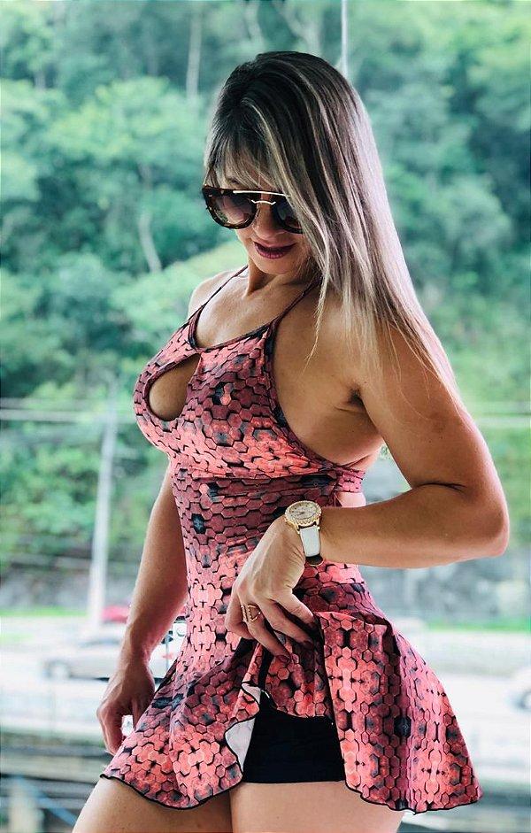 Vestido fitness  com estampa hexágono 3D rosê - Tamanho único
