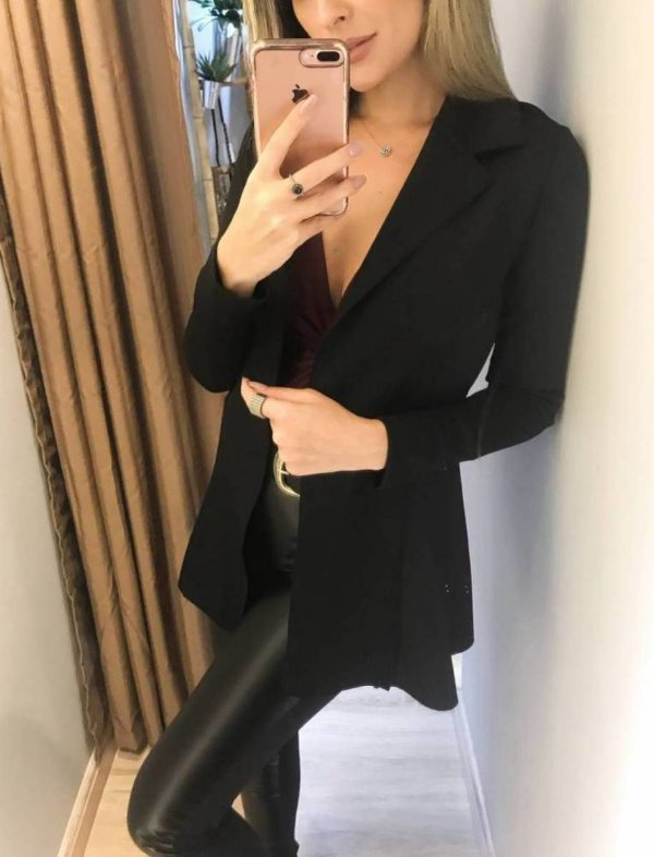 Maxi blazer em neoprene - Preto
