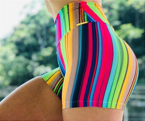 Shorts fitness levanta bumbum estampa multi colors