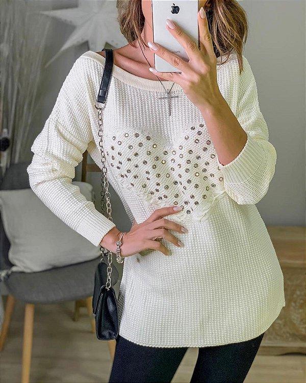 Blusa de tricot com aplicações de pedras - Off white
