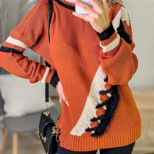 Suéter de tricot Raíssa - Telha
