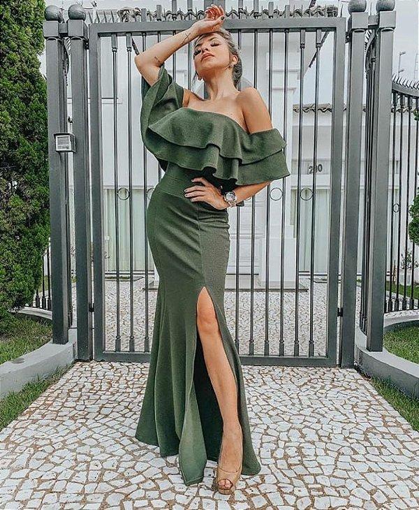 Vestido em malha crepe com babados e fenda - Verde