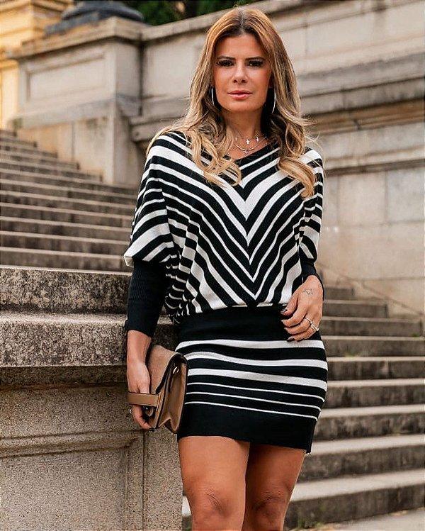 Vestido em modal listras em preto e branco - Letícia