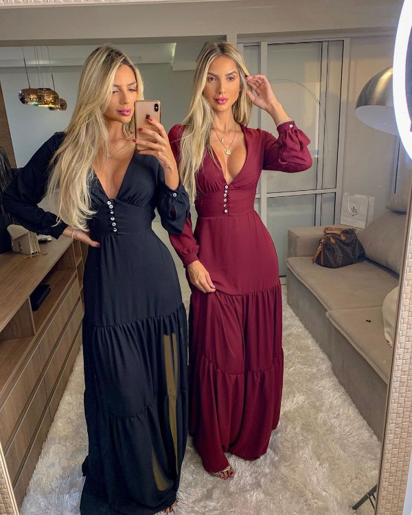 Vestido longo Thássia - Bordô