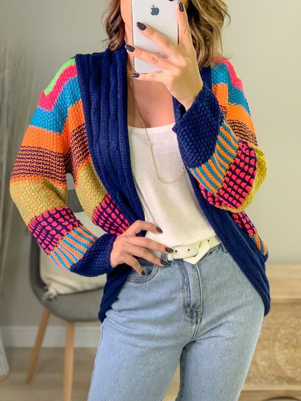 Casaco de tricot color mix - Azul