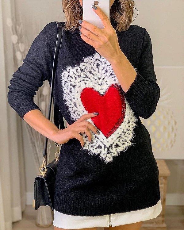 Blusa de flamé com detalhe de angorá - Heart