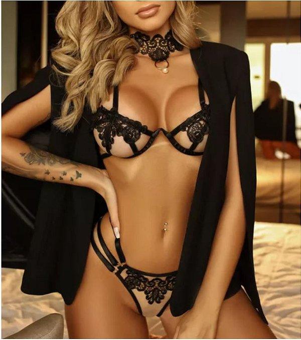 Conjunto de lingerie black bordin com calcinha fio