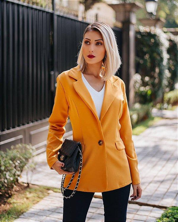 Blazer alfaiataria com botão tartaruga - Amarelo