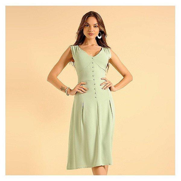 Vestido midi com botõezinhos frontais - verde menta