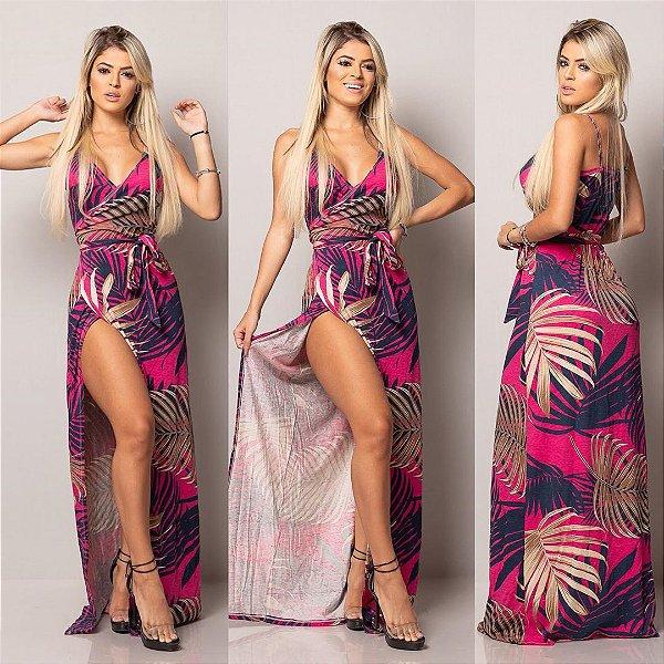 Vestido longo envelope - Tropical pink