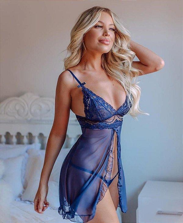 Lingerie camisola Helena com calcinha - Azul