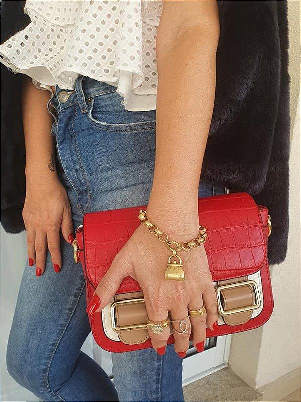 Bolsa tiracolo croco - Vermelha